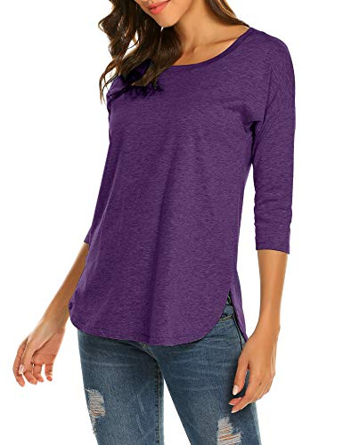 Sherosa Women's Casual 3/4 sleeve Loose Tunic Tops Scoop Neck T-Shirt (S, Purple)