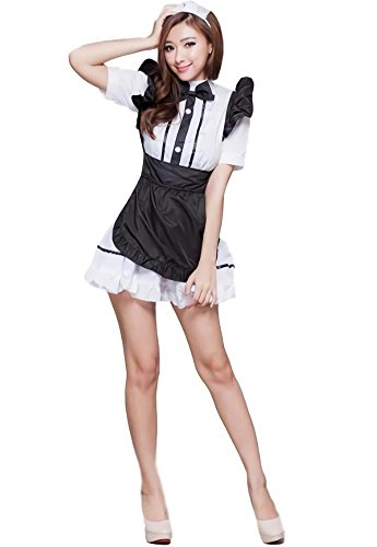 Bar Maid Costume Plus Size (Beaumens Women's Anime Cosplay French Apron Maid Fancy Dress Costume Halloween Plus Size Costumes For Women Mini Skirts 01)