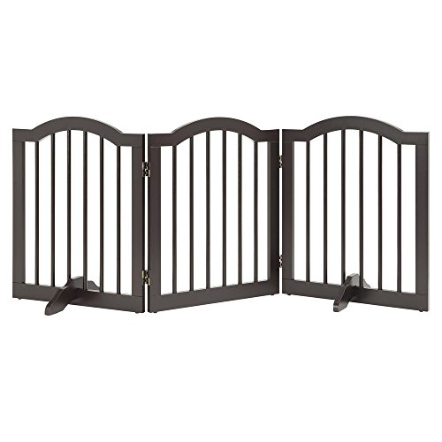 unipaws Freestanding Pet Gate with 2Pcs Support Feet, Foldable Dog Gate for Stairs, Pet Gate Panels, Decorative Indoor…