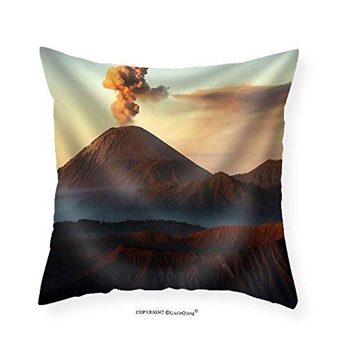 VROSELV Custom Cotton Linen Pillowcase Volcanos Mount Semeru and Mount Bromo in East Java Indonesia - Fabric Home Decor -
