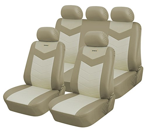 Full Set Protective Vinyl Car Seat Covers for Toyota Corolla 2003-2019 (Caramel)