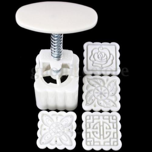 Phantomx 4pcs Stamps 50g Square Flowers Moon Cake Mold Pastry Mooncake Hand DIY Tool