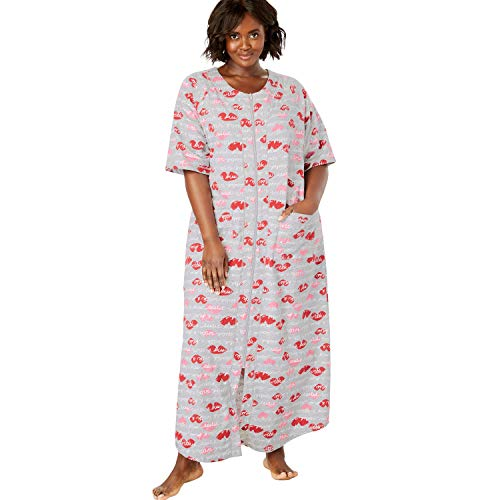Dreams & Co. Women's Plus Size Long French Terry Zip-Front Robe - Heather Grey Kisses, 2X