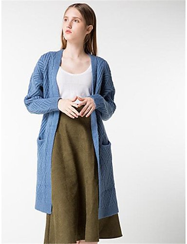 Daily Fall Medium Long Casual Xuanku Cotton Solid Halter Print Polyester Elastic Micro Wool Winter Cardigan Sleeves Simple Blue Long Women'S gqFfEwC