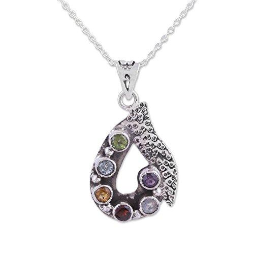 NOVICA Multi-Gem Amethyst .925 Sterling Silver Pendant Necklace, 17.25