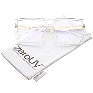 zeroUV - Oversize Modern Chunky Square Flat Clear Lens Eyeglasses 60mm (Clear Gold / Clear)