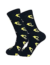 Cotton Novelty Ankle Socks, Womdee Cotton Novelty Crew Dress Socks Funny Socks Crazy Socks Breathable Sweat Absorption Deodorant (1 Pair)