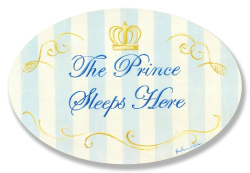 The Kids Room by Stupell The Prince Sleeps Here Blue and White Stripes with Crown Oval Wall Plaque, 10 x 0.5 x 15, Proudly Made in USA