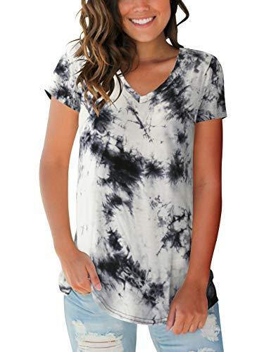 Womens Short Sleeve Tops V Neck Tie Dye T Shirts