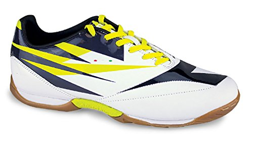 Diadora DD-NA 2 R Indoor Soccer Shoe, White/Black/Fluorescent Yellow, 12.5 M US