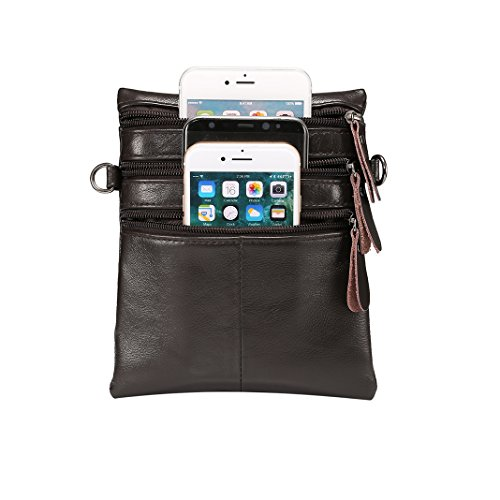 Universal and Black Pouch Moon Bags Apple 0 Zipper Leather Smartphone Phone Purse Adjustable Genuine Women inch Men Bag for Cell Strap Coffee Shoulder mood Wallet with Cellphone 6 Crossbody Other Samsung gqaz5nCE
