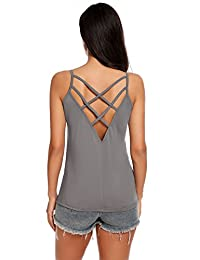 Meaneor Women Sexy Crisscross Cami Cotton Loose Tank Top Sleeveless Camisole Vest
