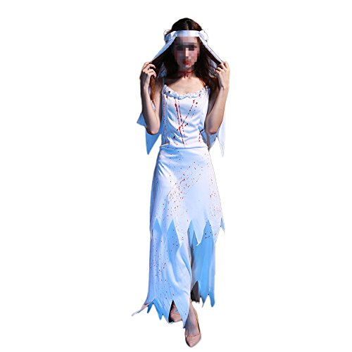 (Women's Zombie Ghost Bride Costume Horror Bloody Zombie Corpse Halloween Costume Dress)