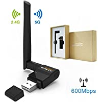 Wifi Adapter AC 600Mbps Wireless Usb Adapter for Desktop / Laptop Dual Band 5/2.4 GHz Wifi Usb Dongle with External Antennas for PC Supports Windows XP/Vista/7/8/10/ Mac OS X 10.6-10.13