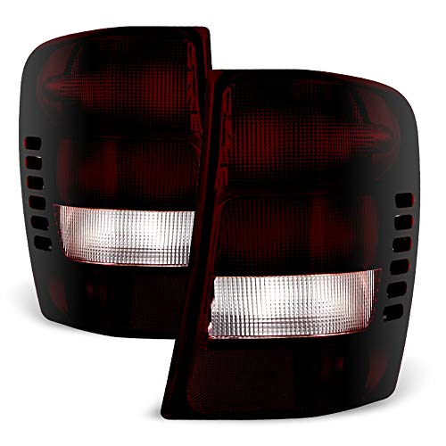 ACANII - For 1999-2004 Jeep Grand Cherokee Red Smoke Rear Tail Lights Brake Lamps Left+Right ()