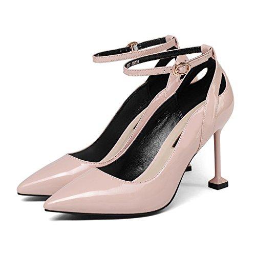Pompes Blanc noir Rose Chaussures Pour Bout Boucles De De Hauts Femmes Pour La Stiletto Sangle Formel Fermé Pink Cheville Mariage à à Talons Patry 161qR