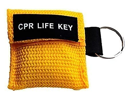 8 Colour Options RED CPR Face Shield//Life Key in Key Ring Pouch