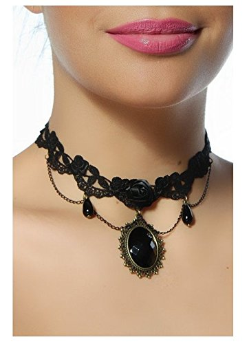 (Seductive Black Delicate Laced Collier / Choker Necklace In Gothic Style With Satin Rose, Chains Tassels / Dangles, Black Pearls / Beads Pendants And Big Black Crystal / Gemstone In Ornamented Bronze Mounting By VAGA)