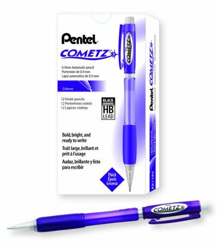 - Pentel Cometz Automatic Pencil, 0.9mm, Violet Barrel, Box of 12 (AX119V)
