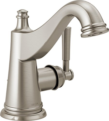 Delta Faucet Mylan Single-Handle Bathroom Faucet with Drain Assembly and Worry-Free Drain Catch, SpotShield Brushed Nickel 15777LF-SP