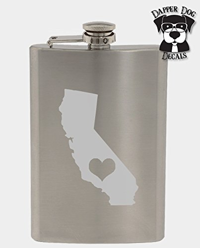 California Pride I Heart My State Art Personalized Custom Hand Etched Stainless Steel 8 oz Flask Great Gift]()