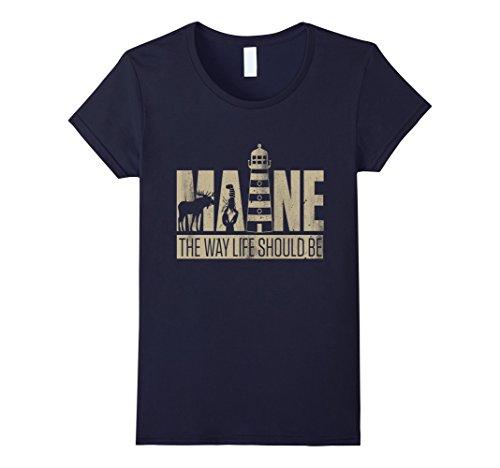 Womens Maine   I Love America T Shirt Medium Navy