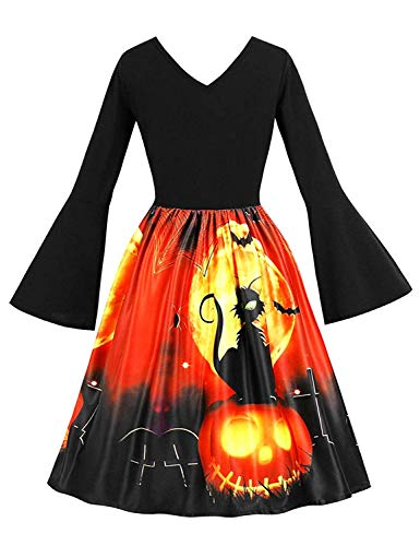 Tanst Halloween Dress, Ladies Autumn Unique Gown Party Christmas Dresses Retro Scary Bat Cartoon Printing Outfits with Flare Sleeve Elastic Band Bright Colour Costumes Black X-Large