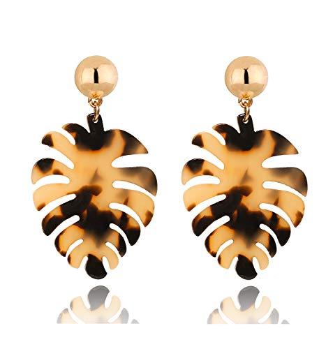 (Acrylic Earrings For Women Girls Statement Palm Leaf Earrings Resin monstera Drop Dangle Earrings Fashion Jewelry (Light Leopard))