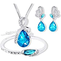 Swarovski Elements Jewelry Set For Women 18K White Gold Plated Crystal Necklace & Earrings Set