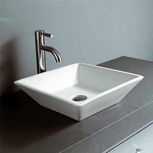 Riovoca White Square Above Counter Porcelain Ceramic Vessel Vanity Bathroom Sink Art Basin