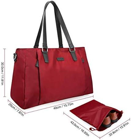 ECOSUSI Duffel Bag Women Overnight Weekender Bag 25L Nylon Carry On Bags Hospital Tote Bag Ladies Travel Bag with Trolley Sleeve, Shoe Bag, Wet Pocket
