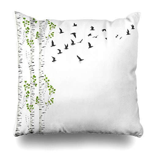 (AlliuCoo Throw Pillow Covers Chevron Green Aspen Birch Trees Birds Flying Nature Spring Abstract Branch Color Design Summer Home Decor Zippered Cushion Case Square Size 16