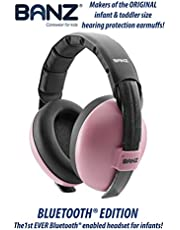 Baby Banz Bluetooth Earmuffs Hearing Protection – Ages 0-2 Years – Best Headphones for Babies & Toddlers – Block Noise & Play Soothing Sounds, Music, Audio Books, Movies (Pink - Bluetooth Edition)