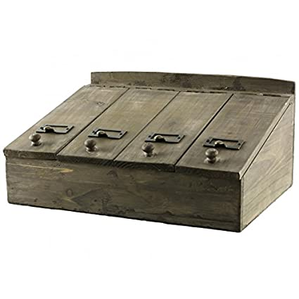 Caja de cubiertos de solapas caja de té caja de almacenamiento de madera (19 x