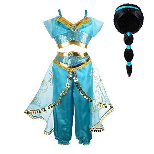Tacobear Princess Jasmine Costume for Girls Arabian Sequined Jasmine Dress up with Wig Tiara Wand Cosplay for Kids (140(7-8T), 01 Jasmine Costume with Wig)]()