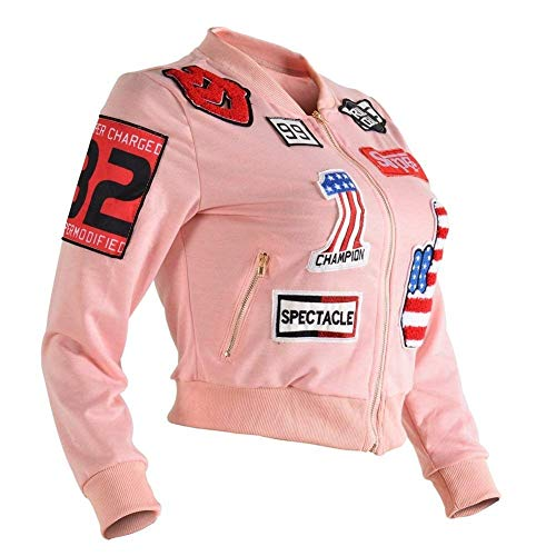 Autunno Giubbino Biker Corto Mini Manica Moda Women Cucitura Jacket Elegante Lunga Ricamo Giovane Giacca Donna Rosa Ragazze Cappotto Cerniera Con Primaverile UBanqwCB