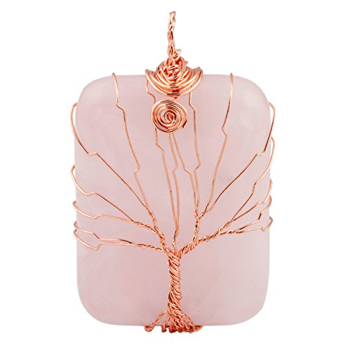 SUNYIK Rose Quartz Oblong Tree of Life Pendant Necklace,Handmade Copper Wire Wrapped Jewelry