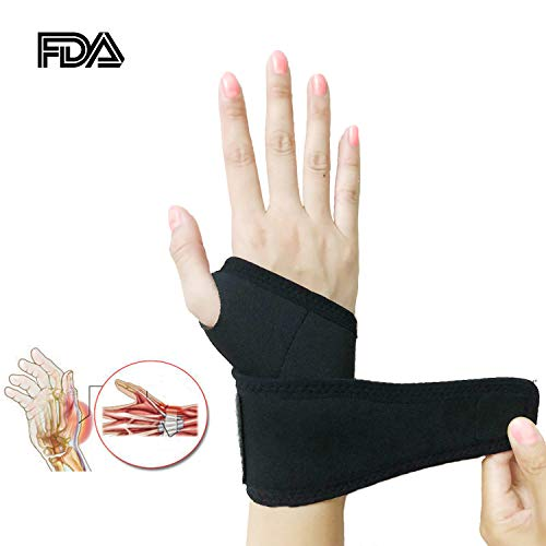 Wrist Brace, Adjustable Elastic Self-Heating Pressure Support Relief Pain from Tenosynovitis, Arthritis, Carpal Tunnel, for Right and Left Hands for Men and Women One Piece Black (Elastic Wrist Hand Brace)