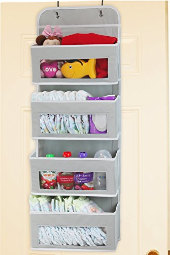 Simplehouseware Over Door/Wall Mount 4 Clear Window Pocket Organizer, Gray by Simple Houseware