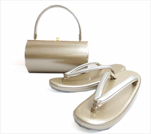 エナメル草履バッグセット横丸型薄金色(銀)M・L・LL 留袖結婚式・着物&振袖 日本製