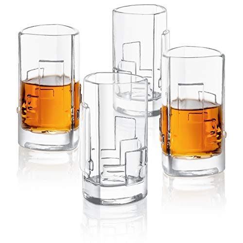 JoyJolt Revere 4-Pack Heavy Base Shot Glass Set, 2-Ounce Ultra Clear Shot ()