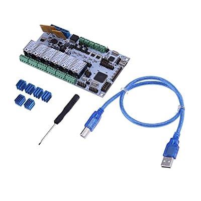 MonkeyJack 3D Printer Motherboard Rumba Main Control Board+TMC2130 Stepper Driver+Heatsink