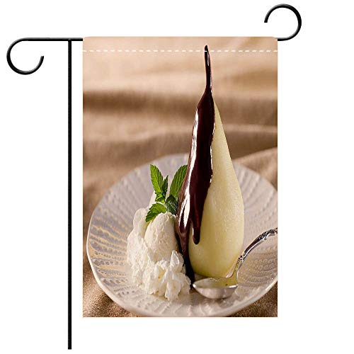 BEICICI Artistically Designed Yard Flags, Double Sided Poached Pear with Warm Chocolate Sauce and Vanilla Ice Cream Best for Party Yard and Home Outdoor Decor