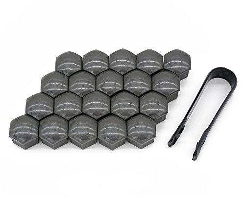 20 Pcs New Universal 17mm Wheel Lug Nut Bolt Cover Caps +Removal Tools (Gray) BY WAYLIN