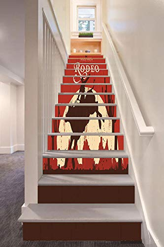 anselc05ls Vintage 3D Stair Riser Stickers Removable Wall Murals Stickers,Rodeo Cowboy Riding Bull Wooden Old Sign Western Wilderness at Sunset Image,for Home Decor 39.3