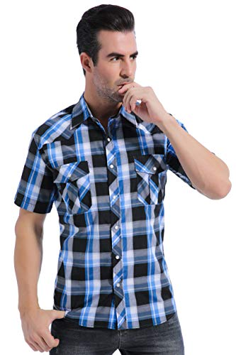 (Coevals Club Men's Casual Plaid Snap Front Short Sleeve Shirt (Black / blue #19, M))