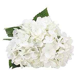 Duovlo Artificial Silk Hydrangea Flower with 6 Heads Flower Bunch Bouquet Home Wedding Garden Floral Decor (White) 50