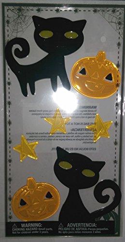(Halloween Gel Window Clings ~ Black Cats with Green Eyes, Stars,)