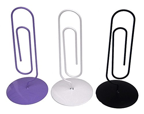 (Set of 3 Jumbo Desk Paper Clips - Memo Holders & Organizers - Purple, White & Black)