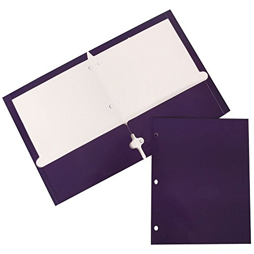 JAM Paper Two Pocket Glossy 3 Hole Punched Presentation Folder - Purple - Sold Individually